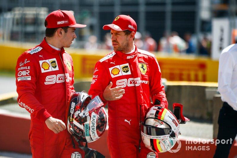 Charles Leclerc, Ferrari, with pole man Sebastian Vettel, Ferrari