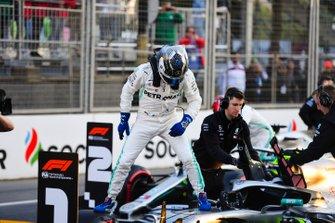 Pole man Valtteri Bottas, Mercedes AMG F1, celebrates after Qualifying