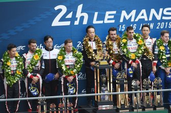 Winners #8 Toyota Gazoo Racing Toyota TS050: Sébastien Buemi, Kazuki Nakajima, Fernando Alonso, second place #7 Toyota Gazoo Racing Toyota TS050: Mike Conway, Kamui Kobayashi, Jose Maria Lopez