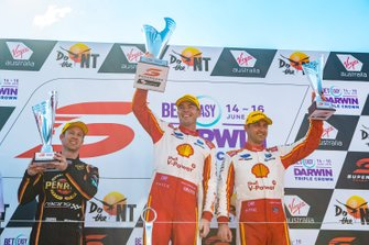 Podium: race winner Scott McLaughlin, DJR Team Penske Ford, second place David Reynolds, Erebus Motorsport Holden, third place Fabian Coulthard, DJR Team Penske Ford