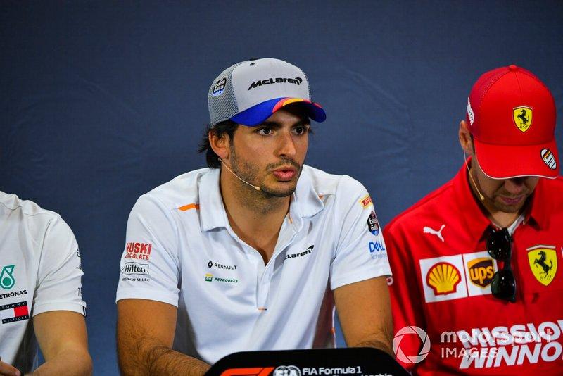 Carlos Sainz Jr, McLaren y Sebastian Vettel, Ferrari en Conferencia de Prensa