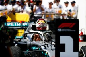 Lewis Hamilton, Mercedes AMG F1 W10, 1st position, arrives in Parc Ferme