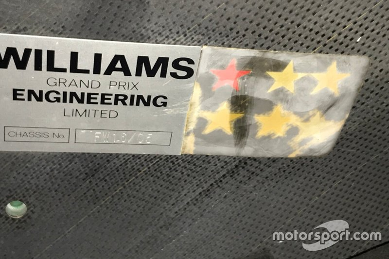 Dettaglio del numero di telaio della Williams FW14 di Riccardo Patrese
