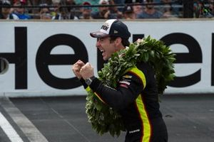 Simon Pagenaud, Team Penske Chevrolet, celebrates after win
