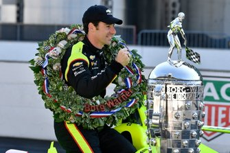 Simon Pagenaud, Team Penske Chevrolet with Borg-Warner trophy