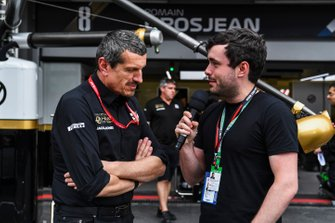 Guenther Steiner, Team Principal, Haas F1 speaks with Matthew Gallagher, Presenter - WTF1