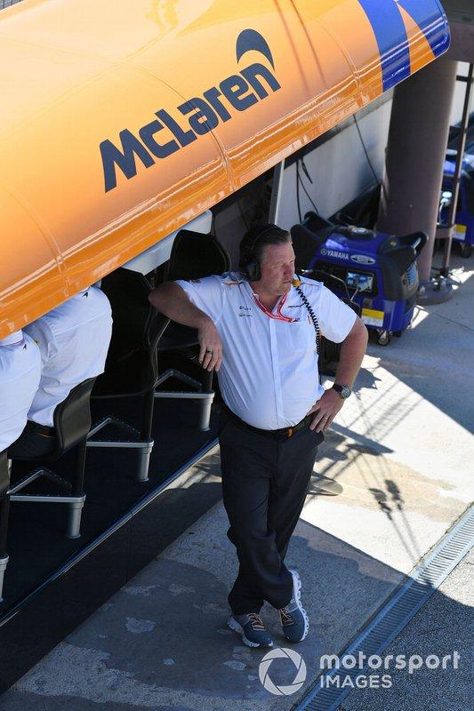 Zak Brown, diretor executivo da McLaren, após garantir a terceira fila
