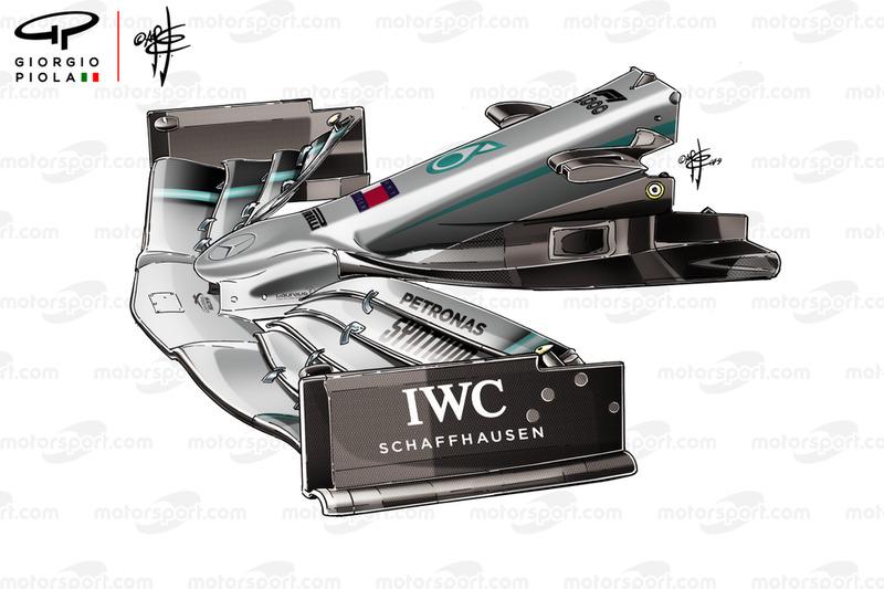 Mercedes W10 alerón delantero