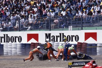 Ayrton Senna, Williams FW16, crashes out of the Grand Prix on the first lap