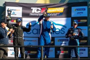 Podium: race winner Jason Bright, Matt Stone Racing, second place Tony D'Alberto, Wall Racing, third place Will Brown, HMO Customer Racing