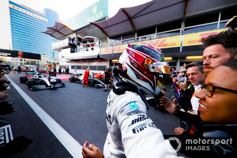 Lewis Hamilton, Mercedes AMG F1, 2nd position, celebrates in Parc Ferme with his team