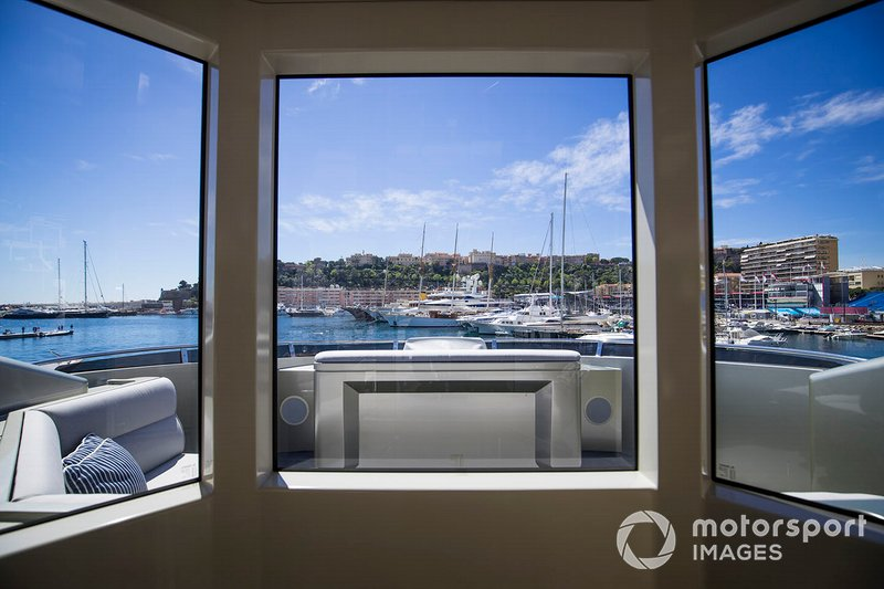 View over the harbour from a yacht