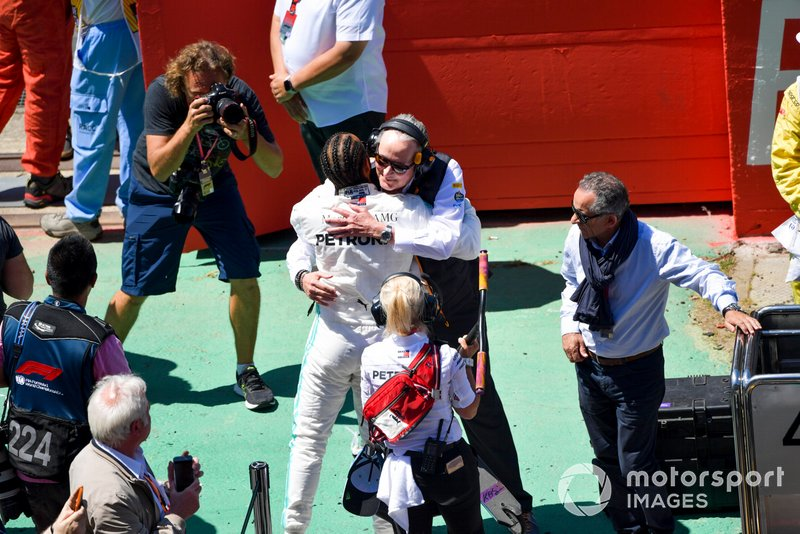 Lewis Hamilton, Mercedes AMG F1, greets Mansour Ojjeh, co-owner, McLaren