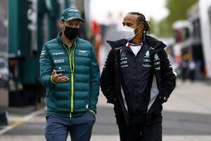 Sebastian Vettel, Aston Martin and Lewis Hamilton, Mercedes in the paddock
