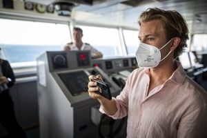 Nico Rosberg, founder and CEO, Rosberg X Racing, aboard the St Helena logistics ship