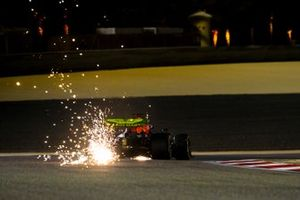 Sparks fly from Max Verstappen, Red Bull Racing RB16