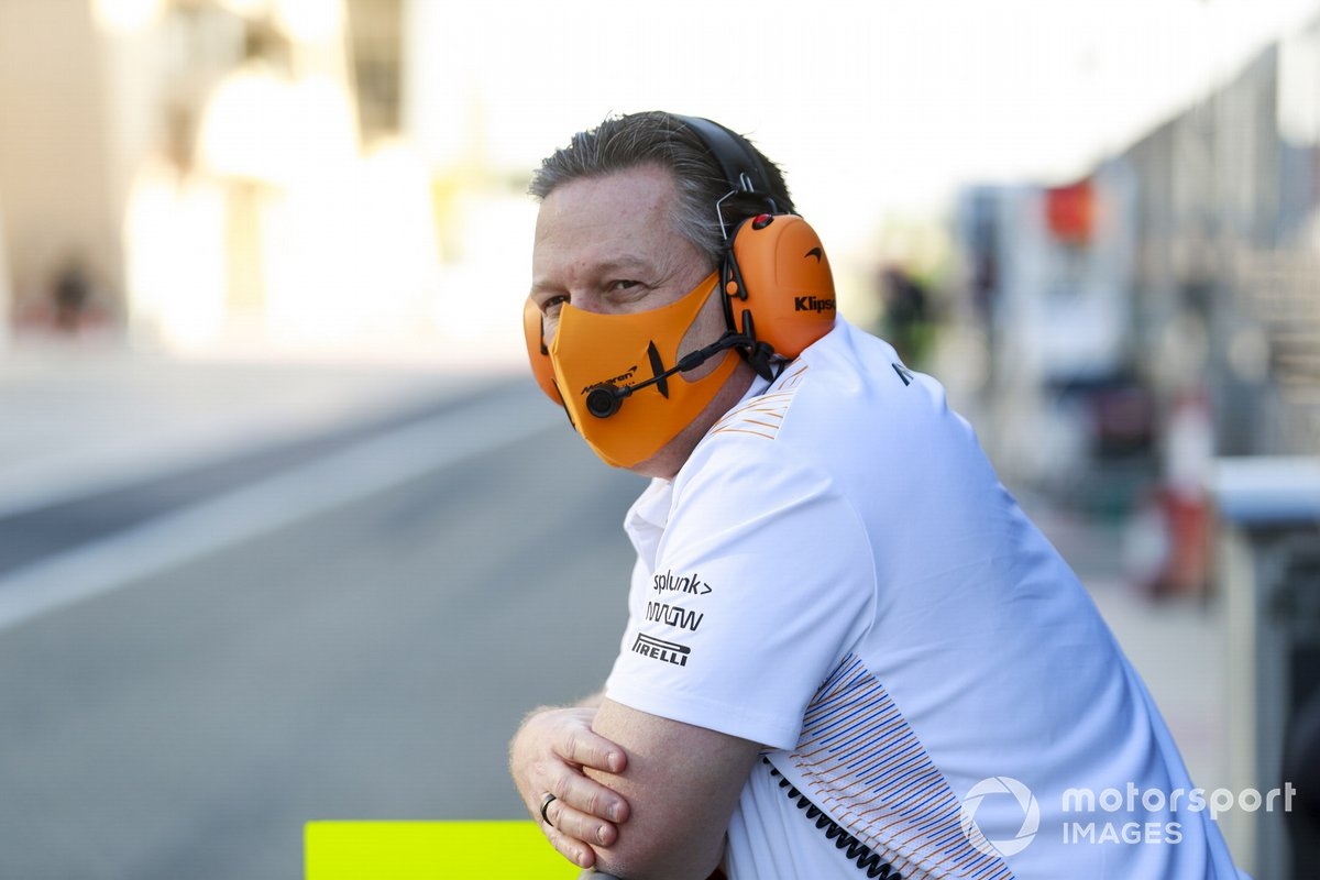 Zak Brown, CEO, McLaren Racing on the pit wall