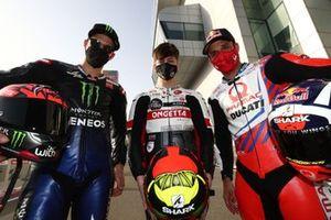 Fabio Quartararo, Yamaha Factory Racing, und Johann Zarco, Pramac Racing, mit Lorenzo Fellon, Moto3