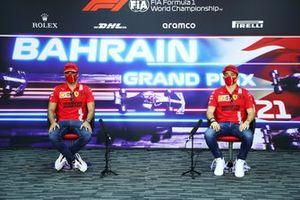 Carlos Sainz Jr., Ferrari, and Charles Leclerc, Ferrari, in the press conference