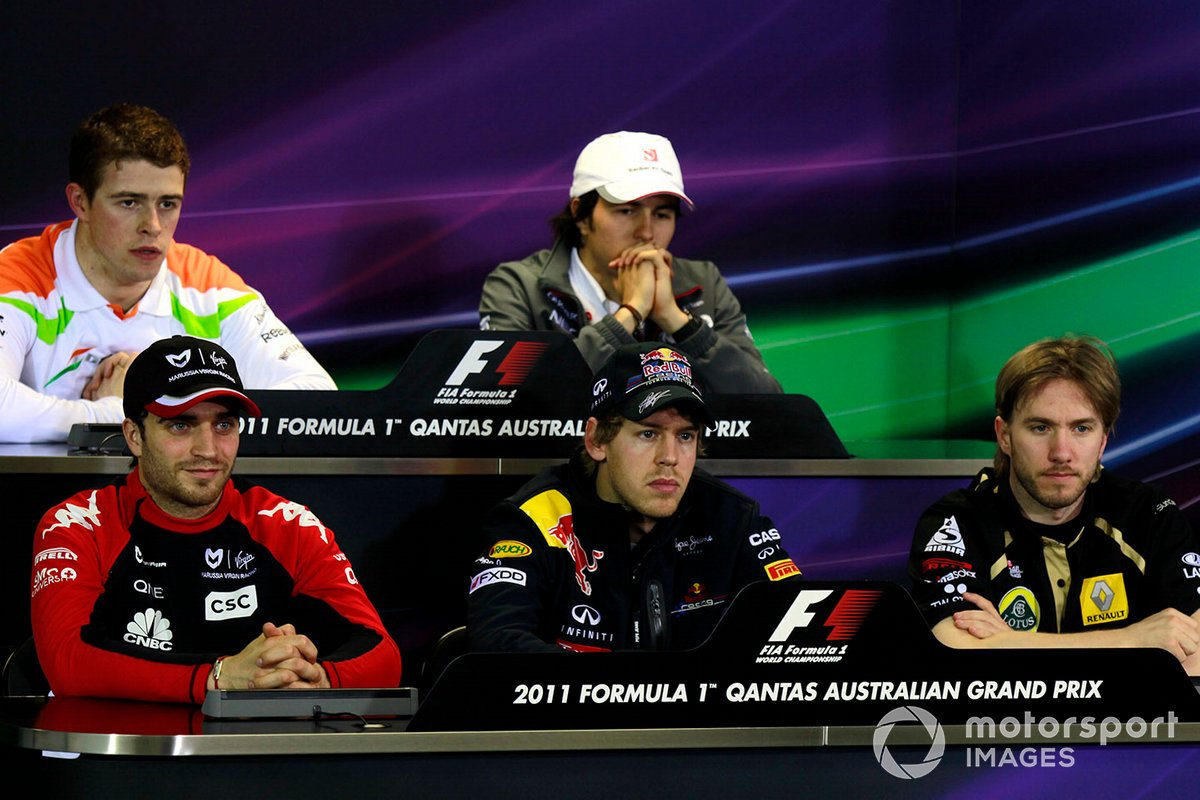 Conferencia de presnas: Jerome d'Ambrosio, Virgin MVR-02 Cosworth, Paul Di Resta, Force India VJM04 Mercedes, Sebastian Vettel, Red Bull Racing RB7 Renault, Nick Heidfeld, Lotus Renault GP R31, y Sergio Pérez, Sauber C30 Ferrari