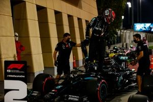 George Russell, Mercedes-AMG F1, arrives in Parc Ferme after Qualifying