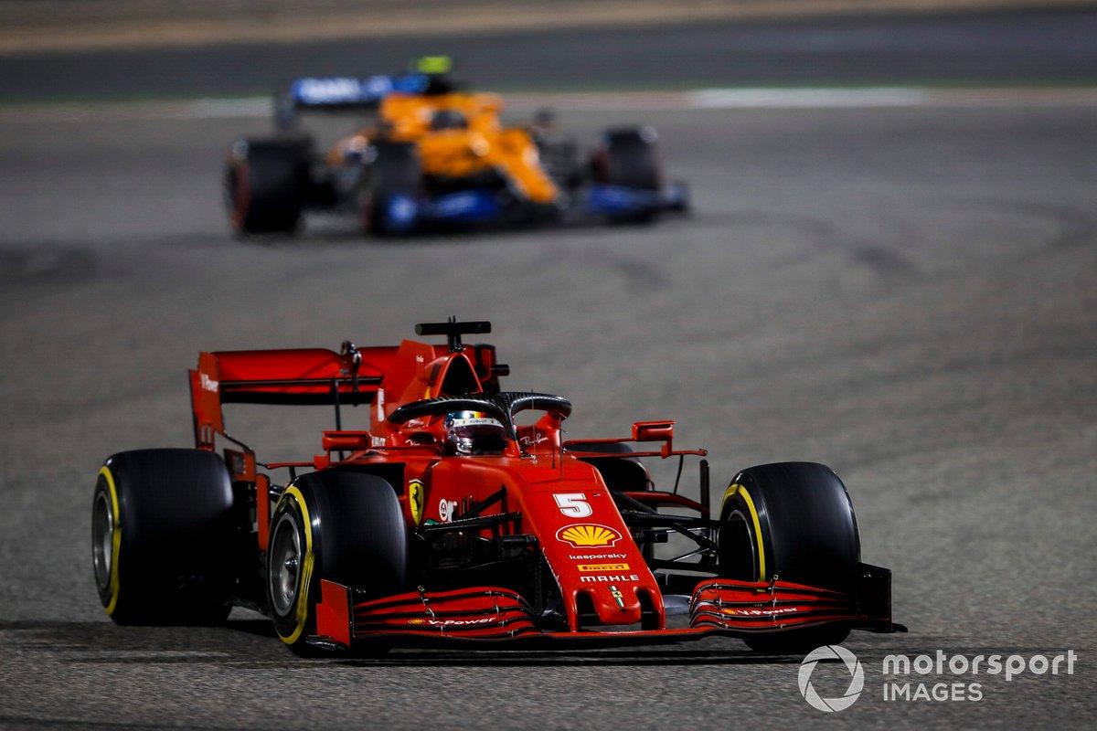 Sebastian Vettel, Ferrari SF1000, Lando Norris, McLaren MCL35
