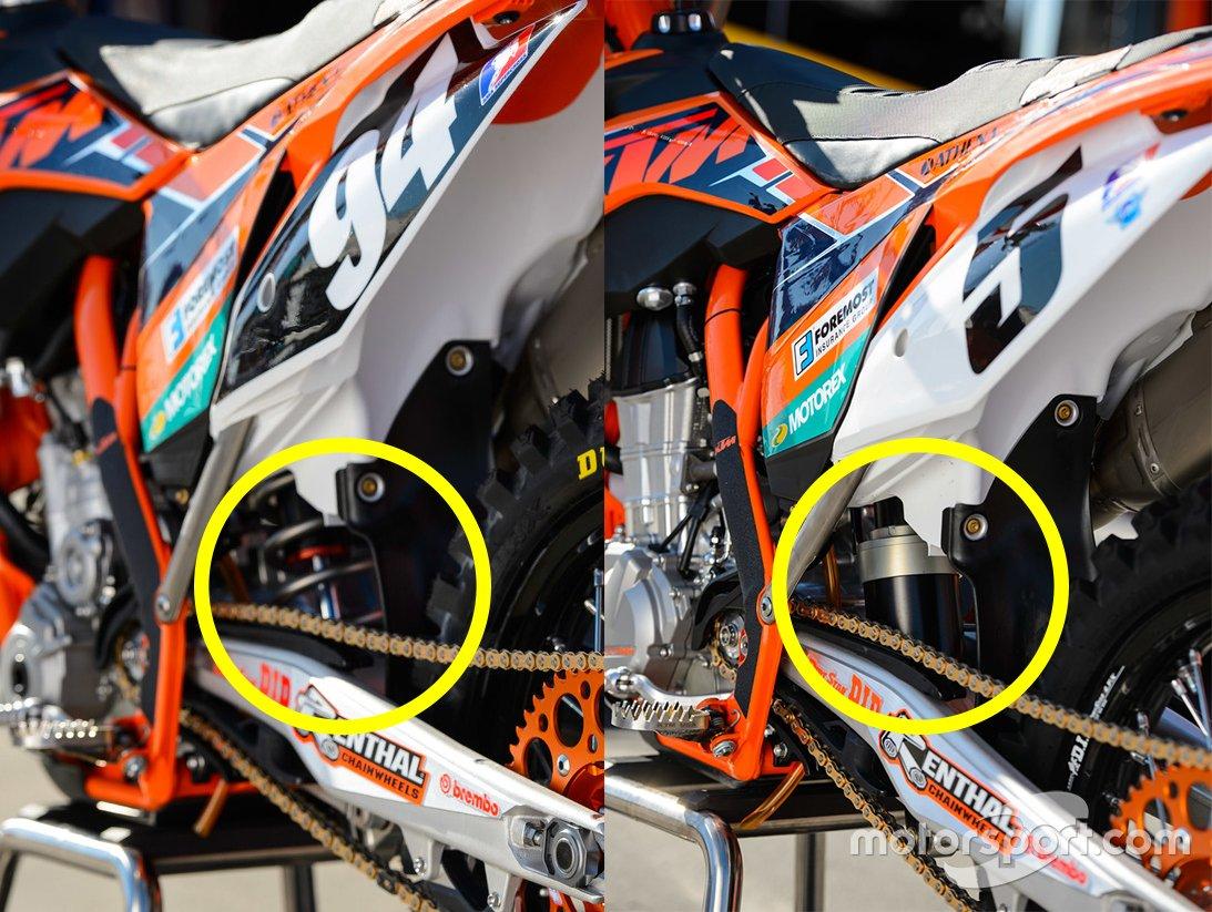 A la izquierda el motor de 250 de Ken Roczen con amortiguador trasero convencional; a la derecha el motor de 450 de Ryan Dungey con amortiguadores de aire