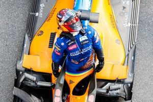 Carlos Sainz Jr., McLaren, 2nd position, celebrates on arrival in Parc Ferme