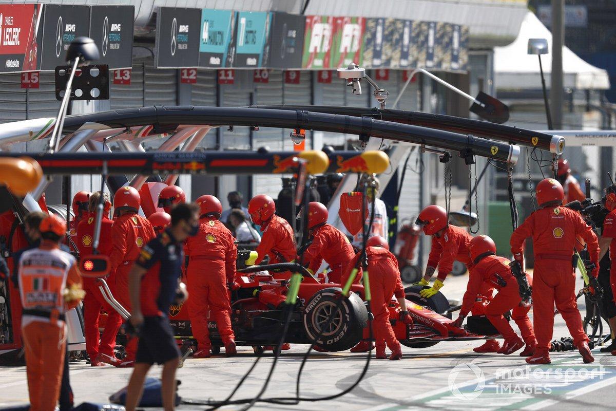 Sebastian Vettel, Ferrari SF1000, is retired to the garage