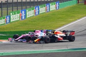 Max Verstappen, Red Bull Racing RB16 and Lance Stroll, Racing Point RP20 go side by side