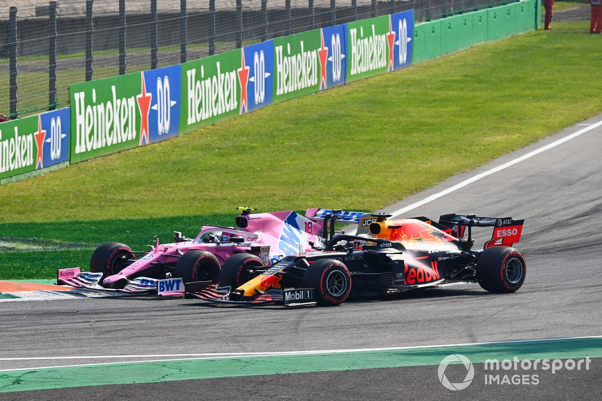 Max Verstappen, Red Bull Racing RB16, Lance Stroll, Racing Point RP20
