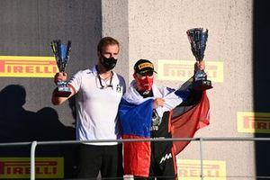 Nikita Mazepin, Hitech Grand Prix celebrates on the podium