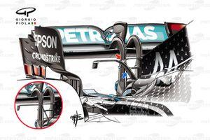 Mercedes F1 W11 T-wing comparison detail
