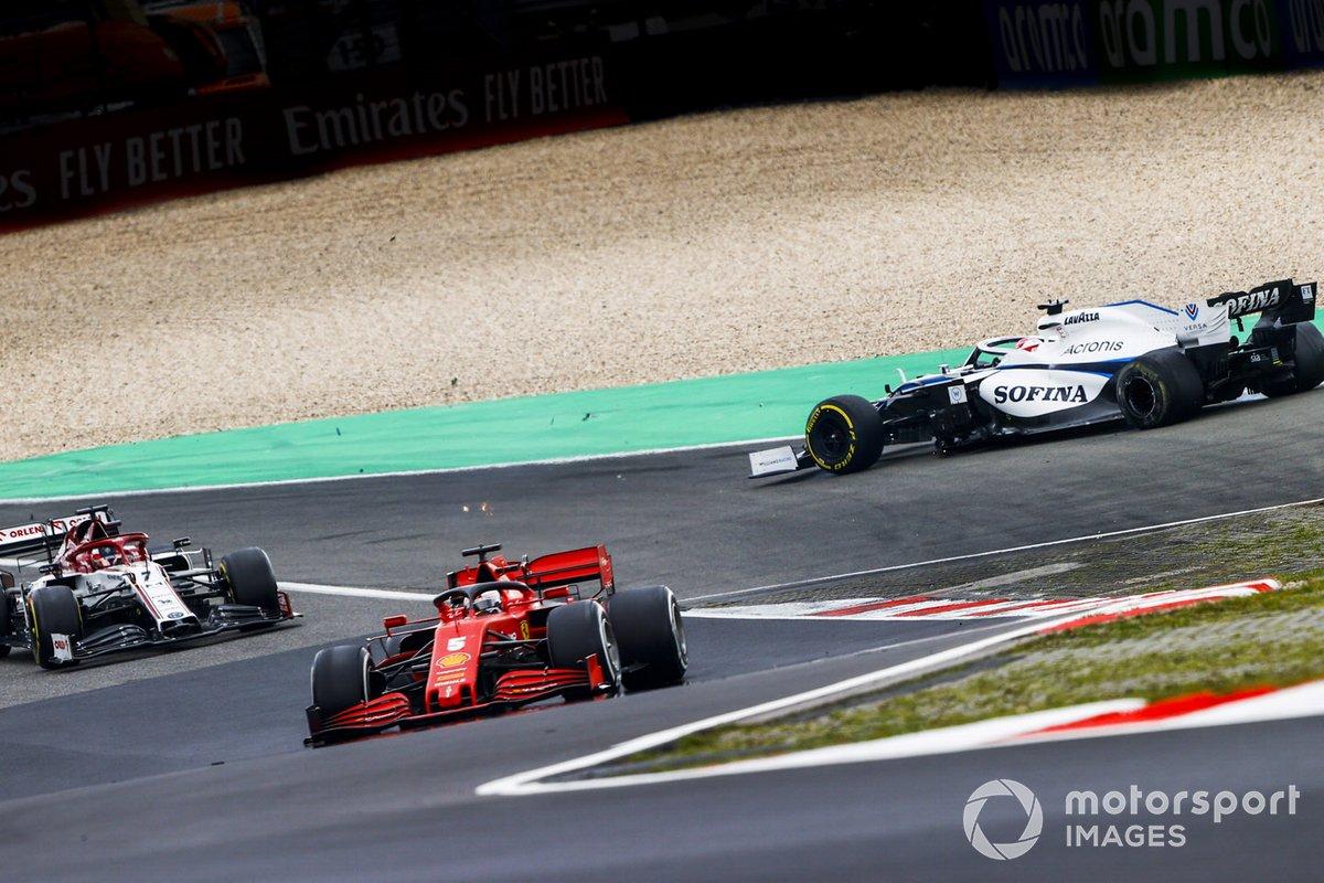 Sebastian Vettel, Ferrari SF1000, Kimi Raikkonen, Alfa Romeo Racing C39, George Russell, Williams FW43 chocan