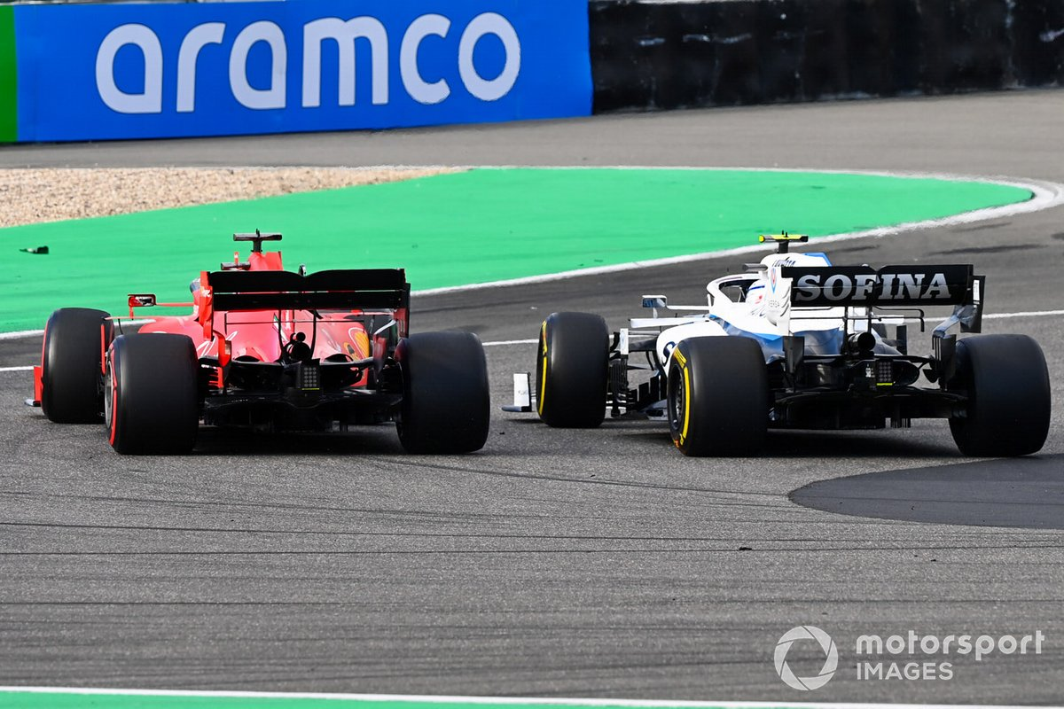 Nicholas Latifi, Williams FW43, in battaglia con Sebastian Vettel, Ferrari SF1000