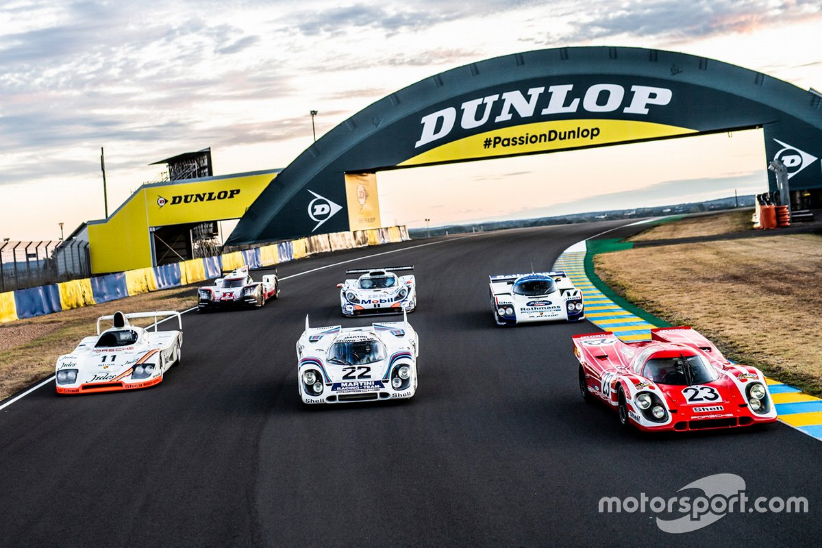Six Porsche winners: Porsche 936/81 Spyder, Porsche 919 Hybrid, 1971 Porsche 917 KH #22, Porsche 911 GT1 98, Porsche 962 C and 1970 Porsche 917 KH #23