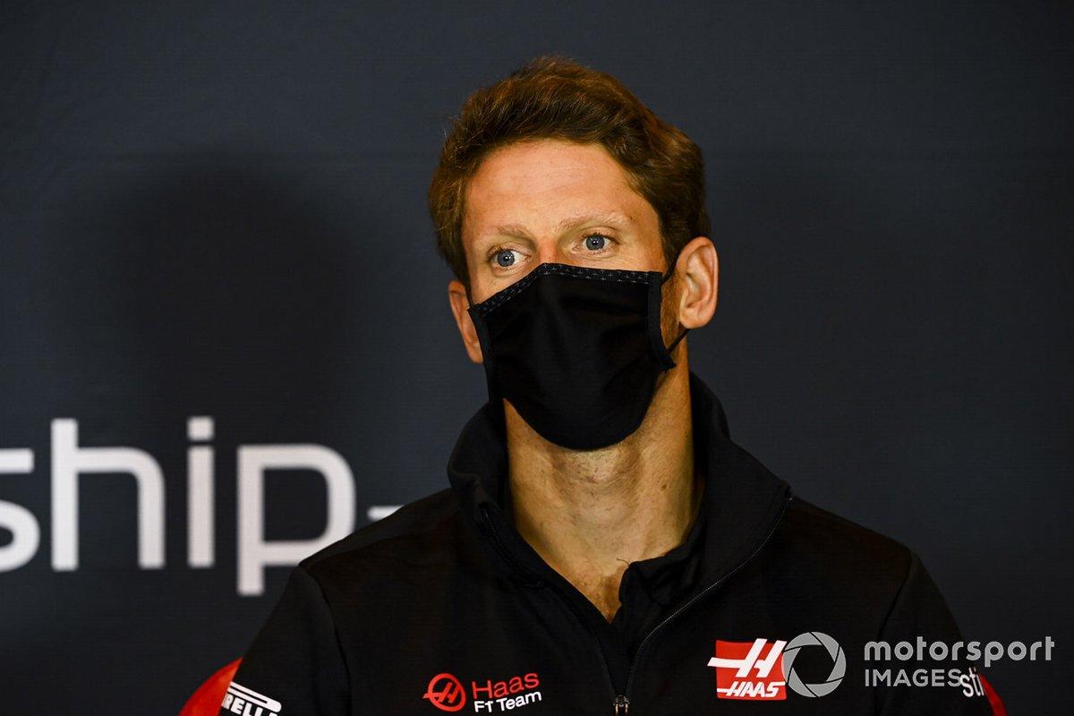 Romain Grosjean, Haas F1, en la conferencia de prensa