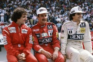 Alain Prost, McLaren, Nigel Mansell, Williams and Nelson Piquet, Williams