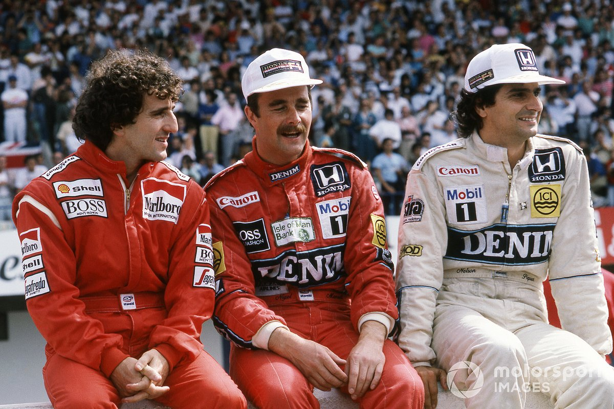 1986: Alain Prost, McLaren, Nigel Mansell, Williams y Nelson Piquet, Williams