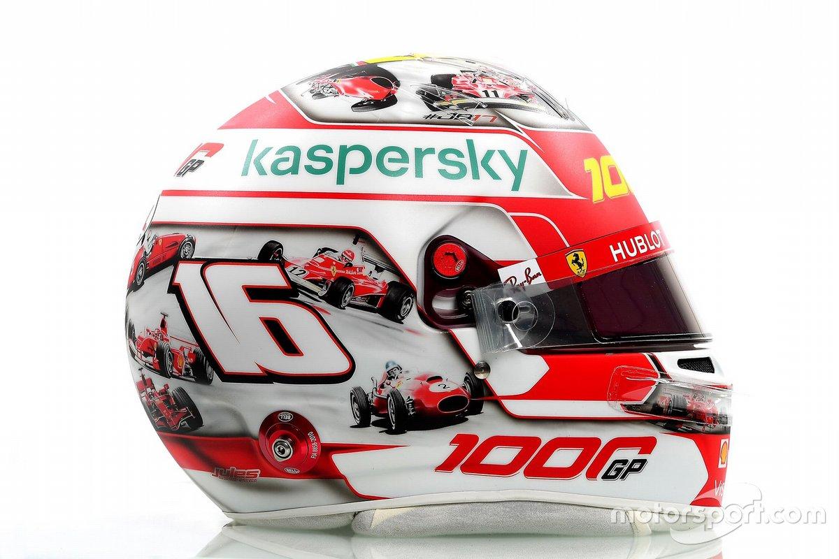 El casco de Charles Leclerc, Ferrari en Mugello