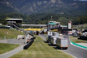 Heavy haulage on the start/ finish straight unloading before the weekend