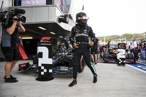 Lewis Hamilton, Mercedes-AMG F1, celebrates in Parc Ferme after securing pole