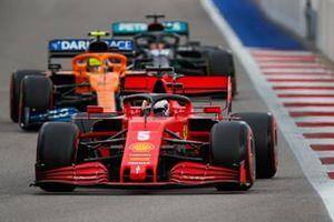 Sebastian Vettel, Ferrari SF1000, Lando Norris, McLaren MCL35, and Lewis Hamilton, Mercedes F1 W11