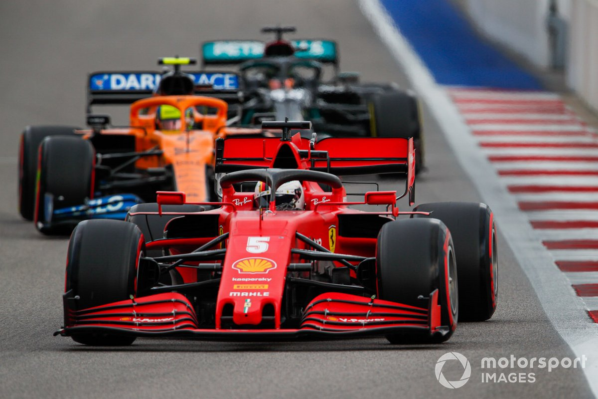 Sebastian Vettel, Ferrari SF1000, Lando Norris, McLaren MCL35, Lewis Hamilton, Mercedes F1 W11