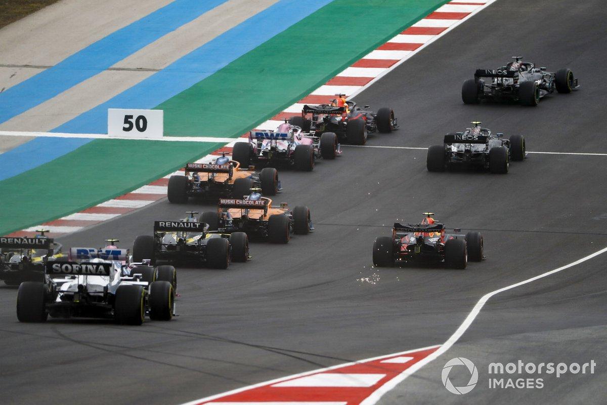 Lewis Hamilton, Mercedes F1 W11, Max Verstappen, Red Bull Racing RB16, Valtteri Bottas, Mercedes F1 W11, Charles Leclerc, Ferrari SF1000, Sergio Pérez, Racing Point RP20
