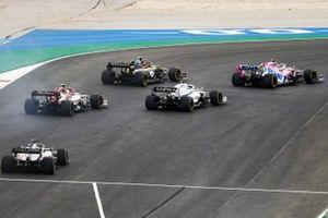 Lance Stroll, Racing Point RP20, Esteban Ocon, Renault F1 Team R.S.20, George Russell, Williams FW43, Antonio Giovinazzi, Alfa Romeo Racing C39, and Romain Grosjean, Haas VF-20