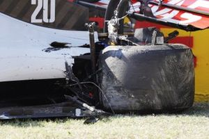 The damaged car of Kevin Magnussen, Haas VF-20
