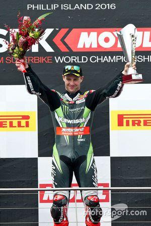 Sieger Jonathan Rea, Kawasaki Racing Team auf dem Podium