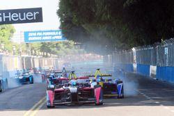 Sam Bird, DS Virgin Racing Formula E Team lead the field in the 1st corner