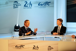 President of the FIA Endurance Commission Lindsay Owen-Jones, presenter Bruno Vandestick